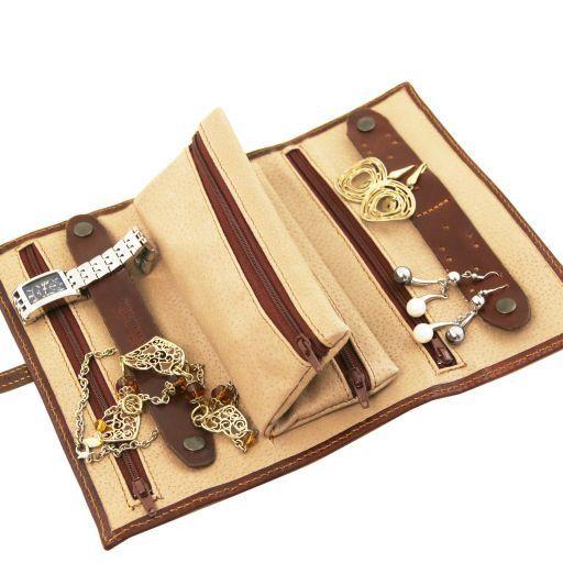 Exclusif trousse à bijoux en cuir Marron foncé TL141621