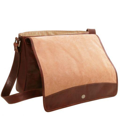 TL Messenger Borsa a tracolla porta notebook in pelle 2 scomparti Marrone TL141650
