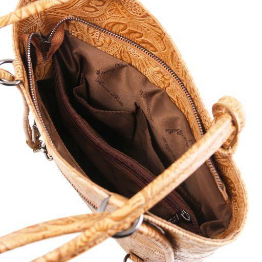 Patty Sac en cuir avec motif floral convertible en sac à dos Noir TL141676