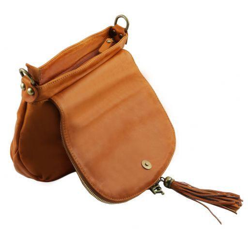 TL Bag Soft leather shoulder bag with tassel detail Yellow TL141223