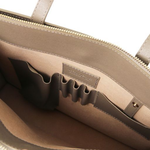 Palermo Saffiano Leather briefcase 3 compartments for women Black TL141369