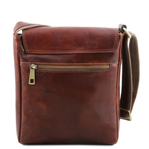 Jimmy Leather crossbody bag for men with front pocket Темно-коричневый TL141407