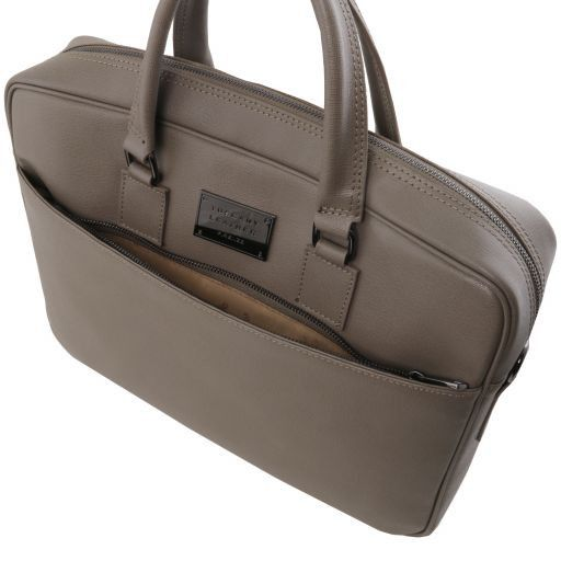 Urbino Saffiano leather laptop briefcase with front pocket Dark Brown TL141627