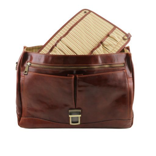 Mantova Leather multi compartment TL SMART briefcase with flap Brown TL141450