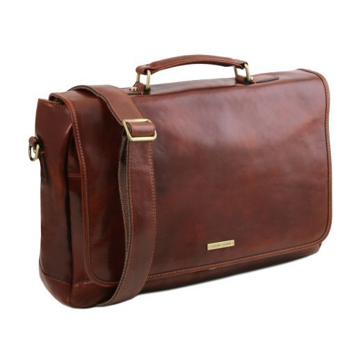 Mantova Leather multi compartment TL SMART briefcase with flap Коричневый TL141450
