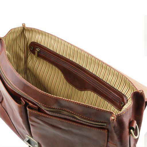 Mantova Portafolio TL SMART multiples compartimientos en piel y solapa Marrón TL141450