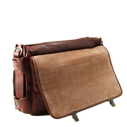 Ventimiglia TL SMART Multifach-Aktentasche aus Leder mit zwei aufgesetzte Taschen Braun TL141449