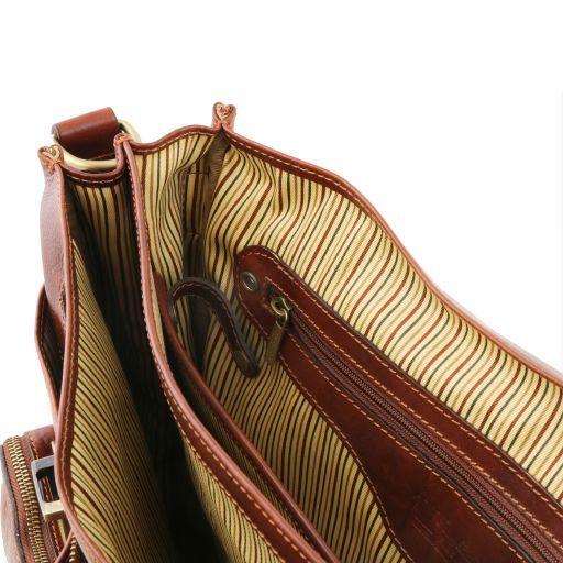 Ventimiglia Cartable TL SMART multi compartiments en cuir avec poches frontales Marron TL141449
