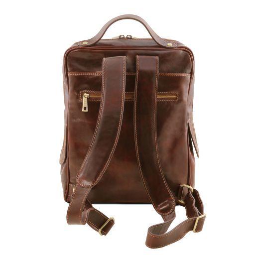Bangkok Кожаный рюкзак для ноутбука с отделением впереди Темно-коричневый TL141793
