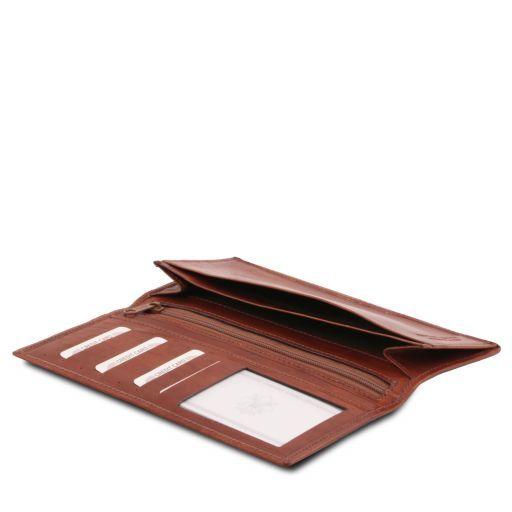 Elégant portefeuille vertical en cuir avec 2 volets Marron TL140777