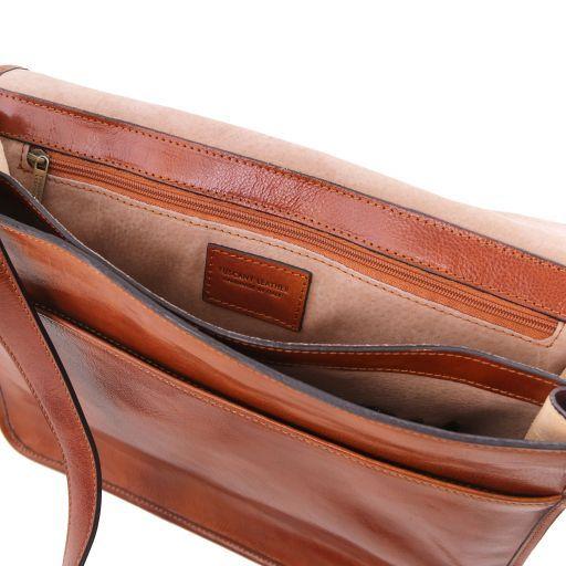 TL Messenger Bolso en piel con bandolera 2 compartimentos - Modelo grande Marrón oscuro TL141254