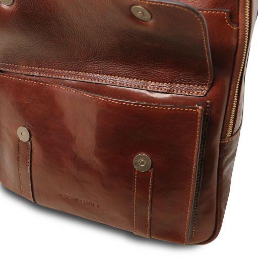 Nagoya Кожаный рюкзак для ноутбука с отделением впереди Темно-коричневый TL141857