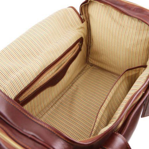TL Voyager Дорожная кожаная сумка с боковыми карманами - Большой размер Коричневый TL141281
