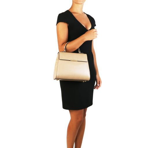 TL Bag Small Saffiano leather duffel bag Caramel TL141628