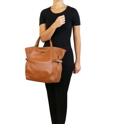TL Bag Sac shopping en cuir souple Noir TL141883