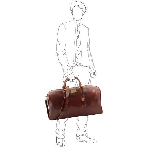 Francoforte Exclusive Leather Weekender Travel Bag - Large size Dark Brown FC140860