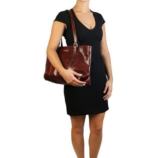 Annalisa Sac à épaule en piel avec deux anses Miel TL141710