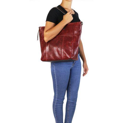 Annie TL SMART Shopping Tasche aus Leder im Antikeffekt Rot TL141552