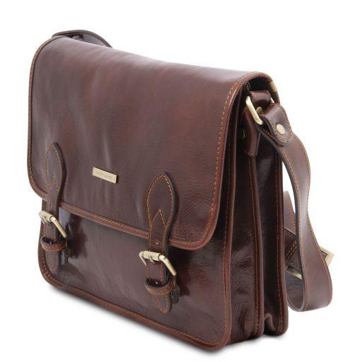 TL Postman Leather messenger bag Brown TL141288