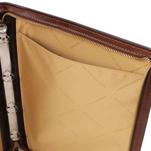 Costanzo Exklusive Konferenzmappe aus Leder mit Griff und Ringmechanik Braun TL141295