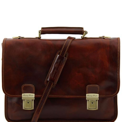 Firenze Leather briefcase 2 compartments Brown TL10028