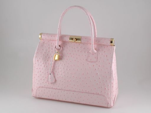 Silvia Ostrich look leather bag Pink TL140635