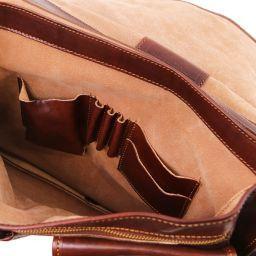 Modena Besace en cuir avec 2 compartiments - Grand modèle Marron foncé TL100310