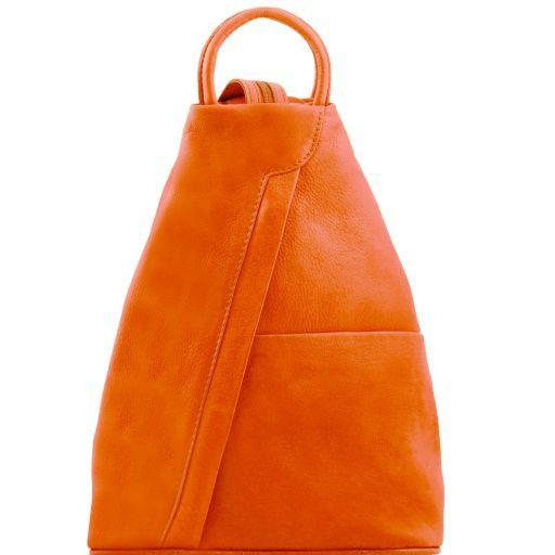 Shanghai Rucksack Tropfendesign aus Leder Orange TL141433