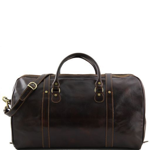 Berlin Travel leather duffle bag with front straps - Large size Red TL1013