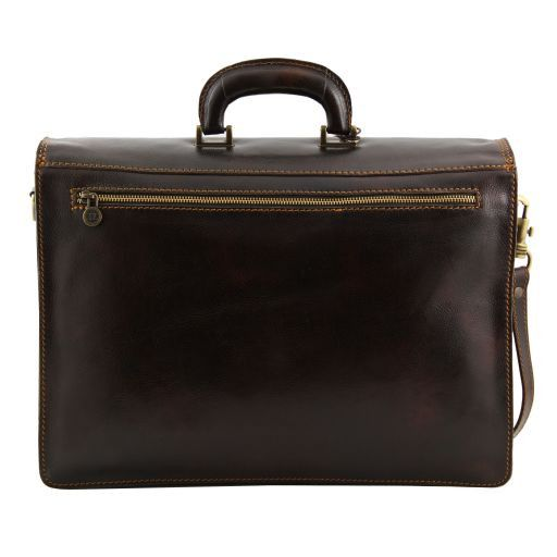 Roma Leather briefcase 3 compartments Dark Brown TL10026
