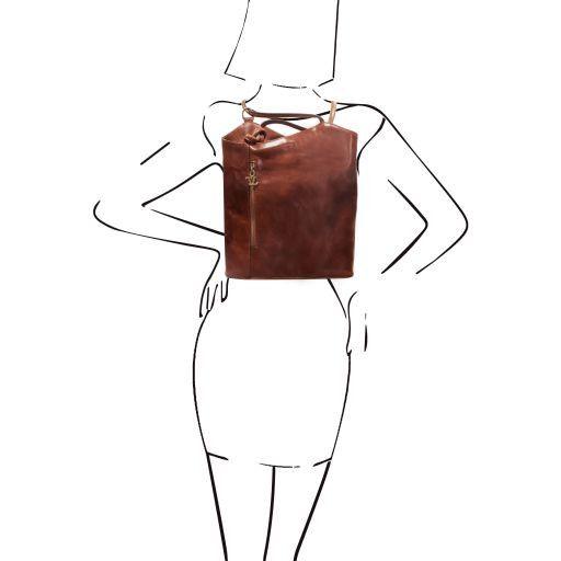 Patty Borsa donna in pelle convertibile a zaino Testa di Moro TL140691