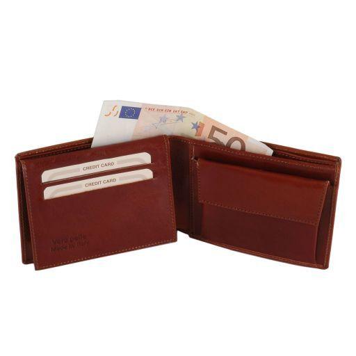 Эксклюзивный кожаный бумажник для мужчин с отделением для монет Коричневый TL140763