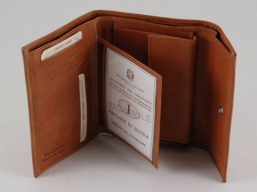 Esclusivo portafogli in pelle da donna 3 ante Nero TL140781