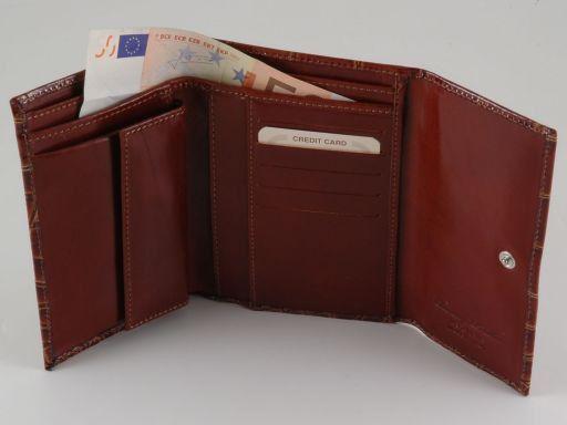 Esclusivo portafogli in pelle stampa cocco da donna Nero TL140783