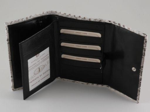 Esclusivo portafogli da donna in vero pitone Roccia TL140799