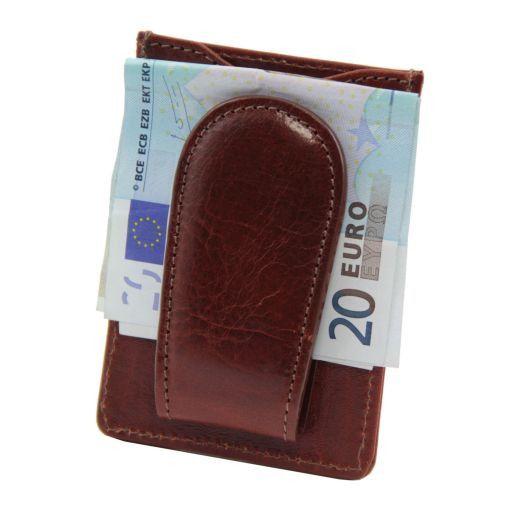 Esclusivo portacarte di credito in pelle verticale Marrone TL140806