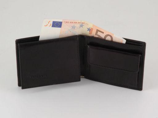 Esclusivo portafoglio uomo in pelle 3 ante Nero TL140814