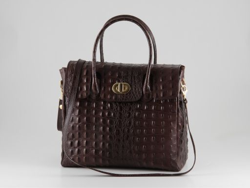 Erika Lady bag in croco look leather - Small size Cognac TL140846