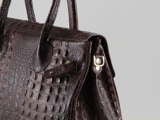 Erika Borsa in pelle stampa cocco da donna - Misura grande Cognac TL140847