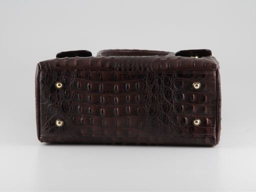 Erika Lady bag in croco look leather - Large size Черный TL140847