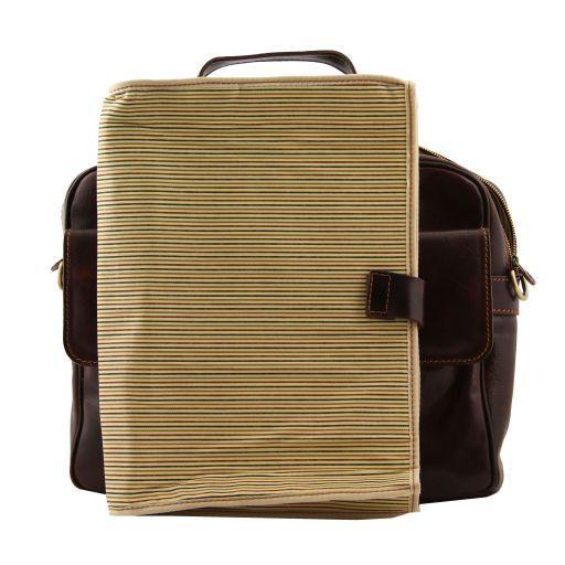 Reggio Emilia Elégante serviette en cuir pour portable Marron foncé TL140889