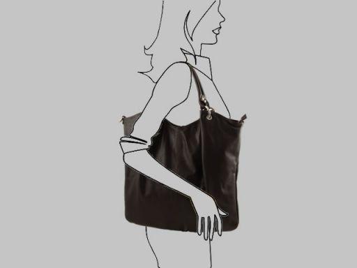 Nina Borsa Shopper in pelle nappata Testa di Moro TL140893
