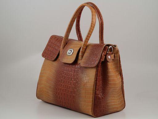Erika Damenhandtasche aus Leder mit Krokoprägung - Gross Rot TL140920