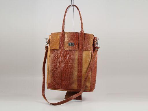 Eva Borsa a spalla in pelle stampa cocco - Misura grande Arancio TL140922