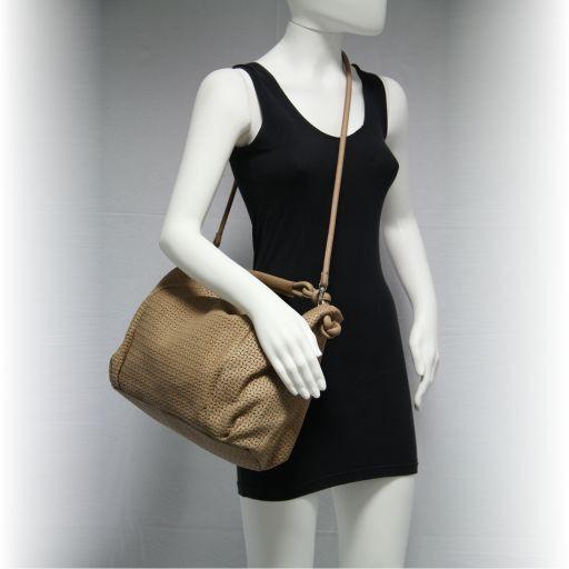 Marika Borsa a spalla in pelle lavorazione intrecciata Cognac TL141027