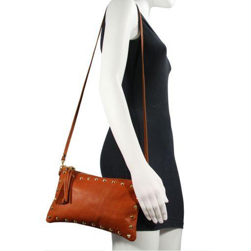 TL Rockbag Pochette en cuir avec clous Rouge TL141114