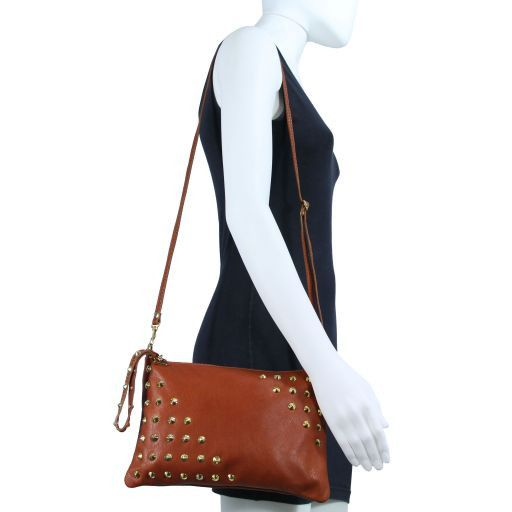 TL Rockbag Borsa con borchie sul manico - Grande Blu TL141122