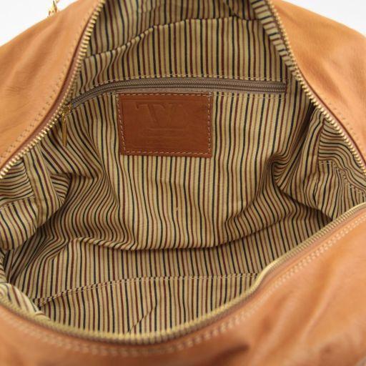 TL Chain Borsa in pelle con manici a catena e nappa Cognac TL141151