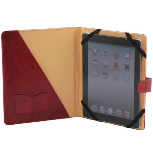 Porta iPad in pelle con bottone Nero TL141170