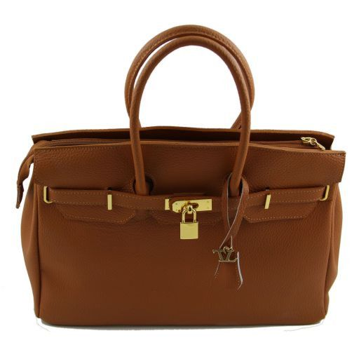 TL Bag Leather handbag with golden hardware Light Taupe TL141174